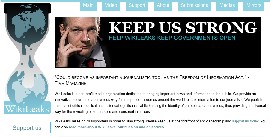 wikileaks julian assange screenshot