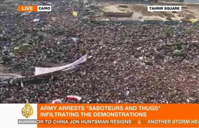 2 millionen menschen auf strassen und plätzen von cairo am 1.2.2011 (aljazeera screenshot)
