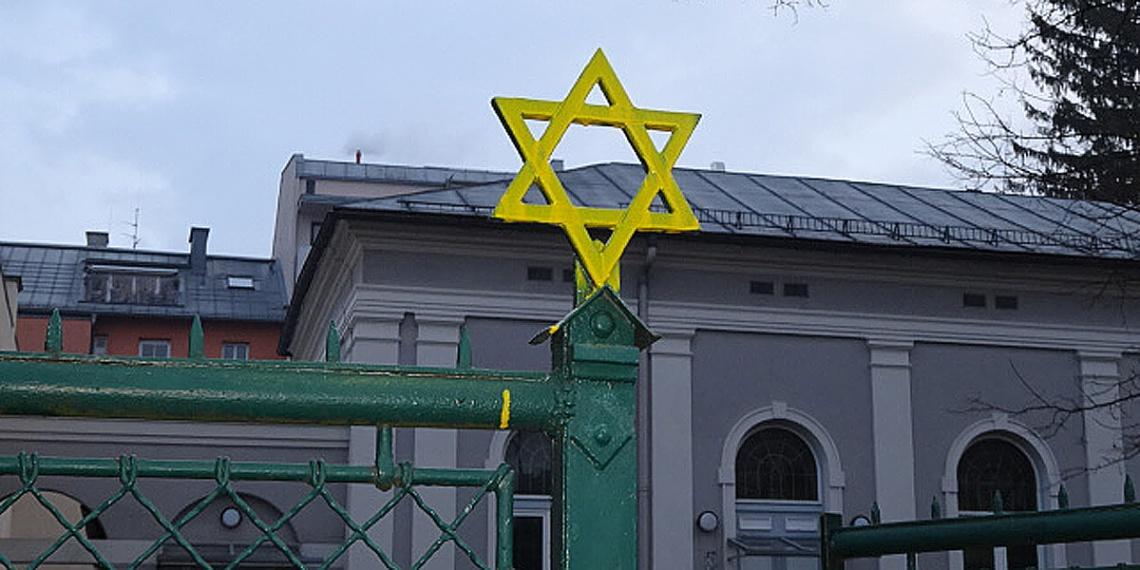 synagoge salzburg - beschmierter davidstern (foto: komitee stolpersteine)